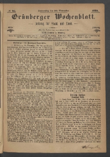 Grünberger Wochenblatt: Zeitung für Stadt und Land, No. 95. (30. November 1871)