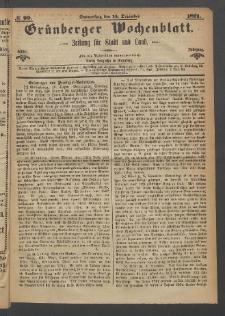 Grünberger Wochenblatt: Zeitung für Stadt und Land, No. 99. (14. Dezember 1871)
