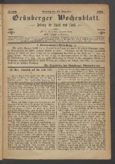 Grünberger Wochenblatt: Zeitung für Stadt und Land, No. 102. (24. Dezember 1871)