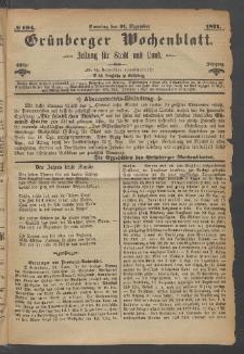Grünberger Wochenblatt: Zeitung für Stadt und Land, No. 104. (31. Dezember 1871)