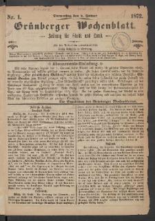Grünberger Wochenblatt: Zeitung für Stadt und Land, No. 1. (4. Januar 1872)