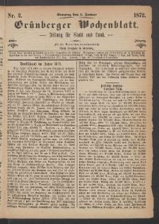 Grünberger Wochenblatt: Zeitung für Stadt und Land, No. 2. (7. Januar 1872)
