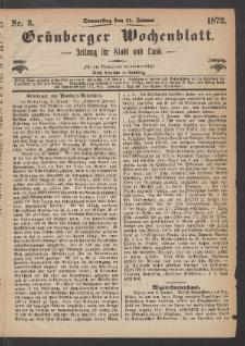 Grünberger Wochenblatt: Zeitung für Stadt und Land, No. 3. (11. Januar 1872)