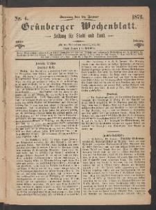 Grünberger Wochenblatt: Zeitung für Stadt und Land, No. 4. (14. Januar 1872)