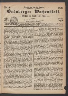 Grünberger Wochenblatt: Zeitung für Stadt und Land, No. 5. (18. Januar 1872)