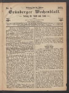Grünberger Wochenblatt: Zeitung für Stadt und Land, No. 6. (21. Januar 1872)