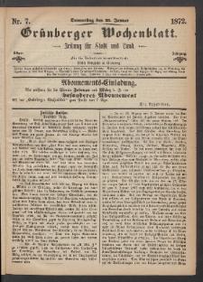 Grünberger Wochenblatt: Zeitung für Stadt und Land, No. 7. (25. Januar 1872)