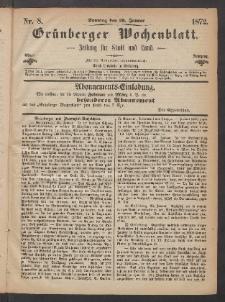 Grünberger Wochenblatt: Zeitung für Stadt und Land, No. 8. (28. Januar 1872)