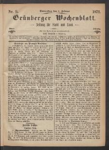Grünberger Wochenblatt: Zeitung für Stadt und Land, No. 9. (1. Februar 1872)