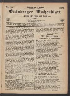 Grünberger Wochenblatt: Zeitung für Stadt und Land, No. 10. (4. Februar 1872)
