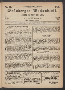 Grünberger Wochenblatt: Zeitung für Stadt und Land, No. 11. (8. Februar 1872)