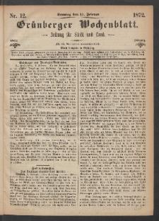Grünberger Wochenblatt: Zeitung für Stadt und Land, No. 12. (11. Februar 1872)