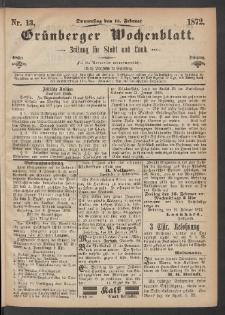 Grünberger Wochenblatt: Zeitung für Stadt und Land, No. 13. (15. Februar 1872)