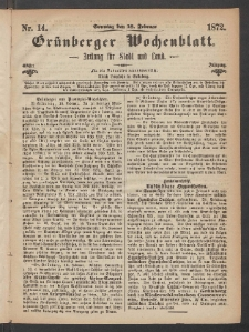 Grünberger Wochenblatt: Zeitung für Stadt und Land, No. 14. (18. Februar 1872)