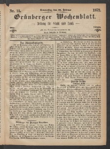Grünberger Wochenblatt: Zeitung für Stadt und Land, No. 15. (22. Februar 1872)