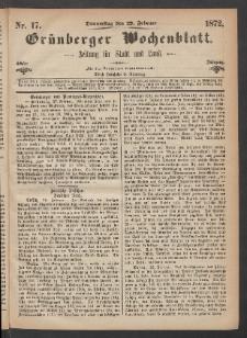 Grünberger Wochenblatt: Zeitung für Stadt und Land, No. 17. (29. Februar 1872)