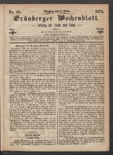 Grünberger Wochenblatt: Zeitung für Stadt und Land, No. 18. (3. März 1872)