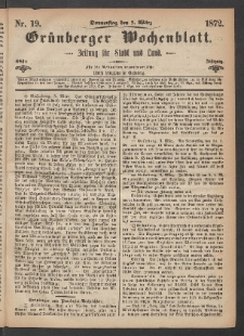 Grünberger Wochenblatt: Zeitung für Stadt und Land, No. 19. (7. März 1872)