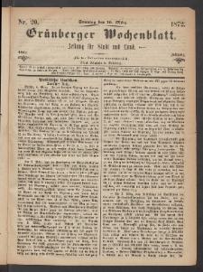 Grünberger Wochenblatt: Zeitung für Stadt und Land, No. 20. (10. März 1872)