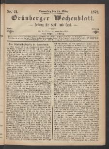 Grünberger Wochenblatt: Zeitung für Stadt und Land, No. 21. (14. März 1872)