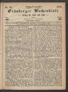 Grünberger Wochenblatt: Zeitung für Stadt und Land, No. 22. (17. März 1872)