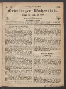 Grünberger Wochenblatt: Zeitung für Stadt und Land, No. 24. (24. März 1872)