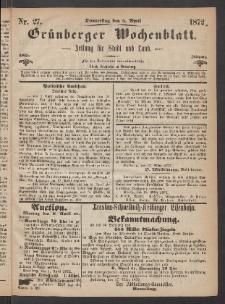 Grünberger Wochenblatt: Zeitung für Stadt und Land, No. 27. (4. April 1872)