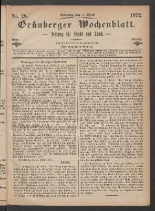 Grünberger Wochenblatt: Zeitung für Stadt und Land, No. 28. (7. April 1872)