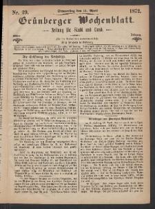 Grünberger Wochenblatt: Zeitung für Stadt und Land, No. 29. (11. April 1872)