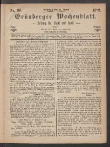 Grünberger Wochenblatt: Zeitung für Stadt und Land, No. 30. (14. April 1872)