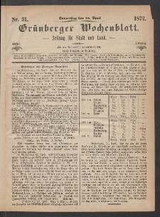 Grünberger Wochenblatt: Zeitung für Stadt und Land, No. 31. (18. April 1872)
