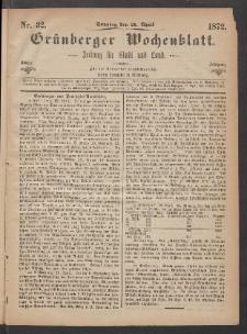 Grünberger Wochenblatt: Zeitung für Stadt und Land, No. 32. (21. April 1872)