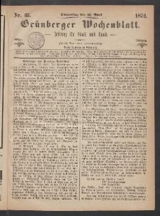 Grünberger Wochenblatt: Zeitung für Stadt und Land, No. 33. (25. April 1872)