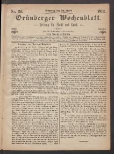 Grünberger Wochenblatt: Zeitung für Stadt und Land, No. 34. (28. April 1872)