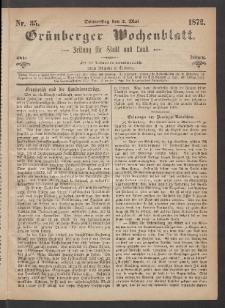 Grünberger Wochenblatt: Zeitung für Stadt und Land, No. 35. (2. Mai 1872)