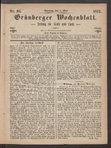 Grünberger Wochenblatt: Zeitung für Stadt und Land, No. 36. (5. Mai 1872)