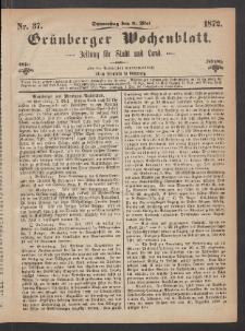 Grünberger Wochenblatt: Zeitung für Stadt und Land, No. 37. (9. Mai 1872)