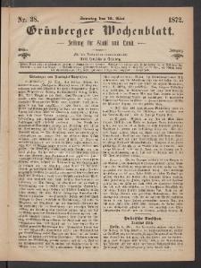 Grünberger Wochenblatt: Zeitung für Stadt und Land, No. 38. (12. Mai 1872)