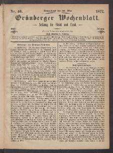 Grünberger Wochenblatt: Zeitung für Stadt und Land, No. 40. (18. Mai 1872)