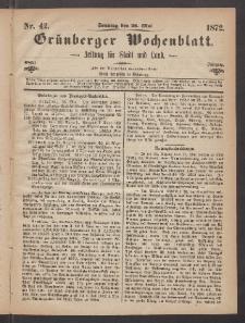 Grünberger Wochenblatt: Zeitung für Stadt und Land, No. 42. (26. Mai 1872)