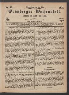 Grünberger Wochenblatt: Zeitung für Stadt und Land, No. 43. (30. Mai 1872)