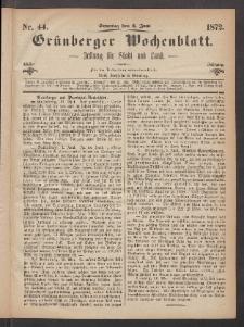 Grünberger Wochenblatt: Zeitung für Stadt und Land, No. 44. (2. Juni 1872)