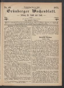 Grünberger Wochenblatt: Zeitung für Stadt und Land, No. 45. (6. Juni 1872)