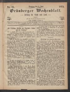 Grünberger Wochenblatt: Zeitung für Stadt und Land, No. 46. (9. Juni 1872)