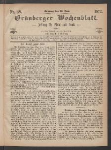 Grünberger Wochenblatt: Zeitung für Stadt und Land, No. 48. (16. Juni 1872)