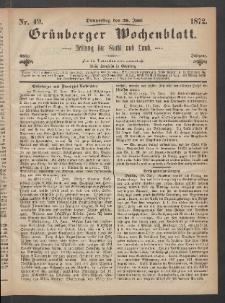 Grünberger Wochenblatt: Zeitung für Stadt und Land, No. 49. (20. Juni 1872)
