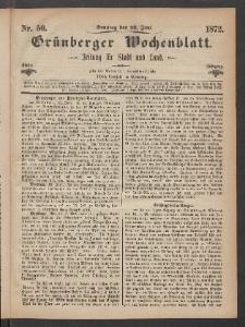 Grünberger Wochenblatt: Zeitung für Stadt und Land, No. 50. (23. Juni 1872)