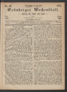 Grünberger Wochenblatt: Zeitung für Stadt und Land, No. 51. (27. Juni 1872)