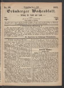 Grünberger Wochenblatt: Zeitung für Stadt und Land, No. 53. (4. Juli 1872)