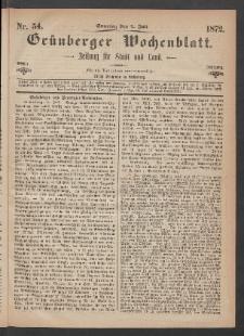 Grünberger Wochenblatt: Zeitung für Stadt und Land, No. 54. (7. Juli 1872)